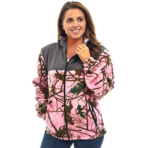 Trailcrest Womens Fleece Wind Jacket, 2X, Pink Camo & Gray