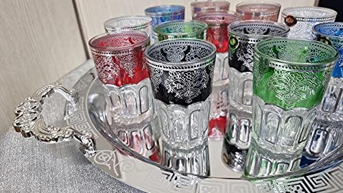 Juego de té marroquí Bandeja 46cm plateada redonda con asas y 12 Vasos de cristal multicolor