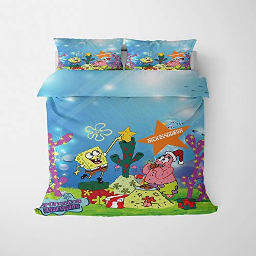 3D Animated Spongebob Squarepants Print Bedding Set, Teenagers Home Bedding Set, Duvet Cover Pillowcases – 100% Microfibre (AH 1,200 x 200 cm)