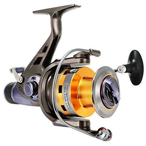 Isafish Spinning Fishing Reels with Front & Rear Double Drag Brake System for Left or Right Hand, Saltwater or Freshwater - Smooth Powerful - KS50