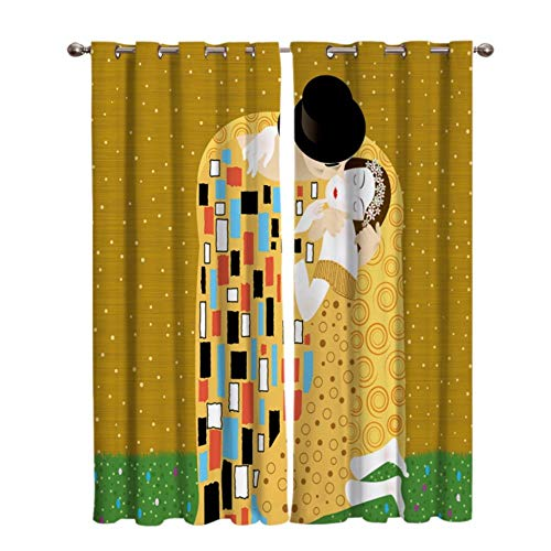 PABUTB Curtains Blackout Eyelet 55' X 98' Kiss Of Subject Leiter Blackout Curtain Set Curtain Anti-Uv Printed Curtain Bedroom Super Soft Thermal Insulated