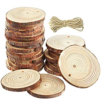 50 Pcs Natural Wood Slices Unfinished Predrilled Round Discs Hole Wooden Circles with 40 Feet Natural Jute Twine 2.4 -2.8  for Arts,Crafts,Christmas,Rustic Wedding Ornaments,DIY Crafts and Gift Tags