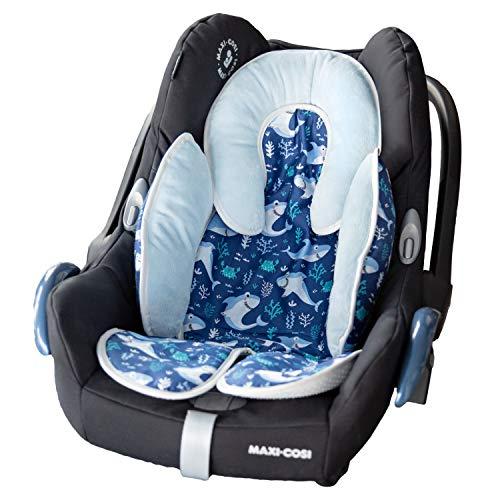 Riduttore Universale per Passeggino, Ovetto, Seggiolino Auto e Seggiolone Pappa in Cotone e Caldo Micropile Antiallergico – Fantasia Baby Shark per Neonato