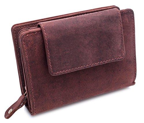 BelleBay hochwertige Geldbörse | aus weichem Leder im Vintage Look - Langes Portemonnaie - Kreditkartenetui | Portmonee | Herren - Damen | Geldbeutel (Bordorot)