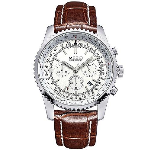 Megir - Orologio da polso da uomo, stile vintage, color marrone, cinturino in pelle, analogico, al quarzo, cronografo, impermeabile, analogico, 2009