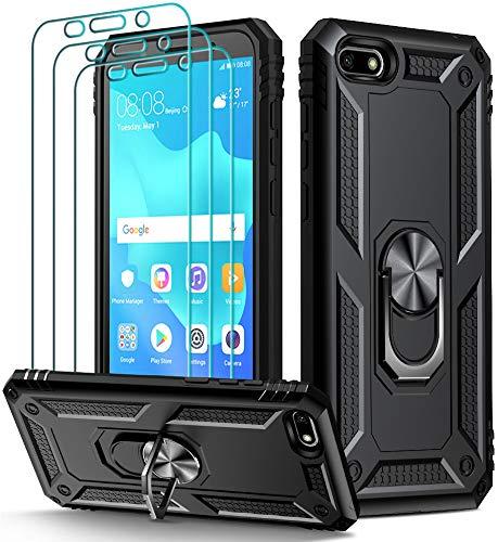 ivoler Coque pour Huawei Y5 2018 / Honor 7S + 3X Protection écran en Verre Trempé, [Military Grade] Absorption de Choc Housse Anti-Scratch PC TPU Coque avec Support Béquille Métal - Noir