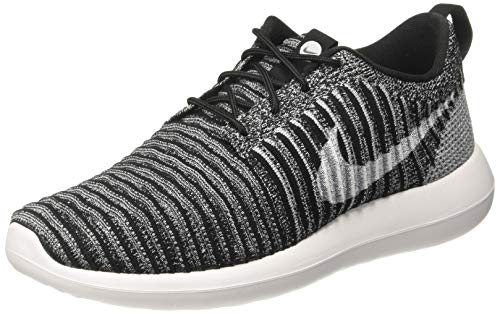 Nike Womens Roshe Two Flyknit Fabric Low Top Lace Up Running, Black, Size 10.5