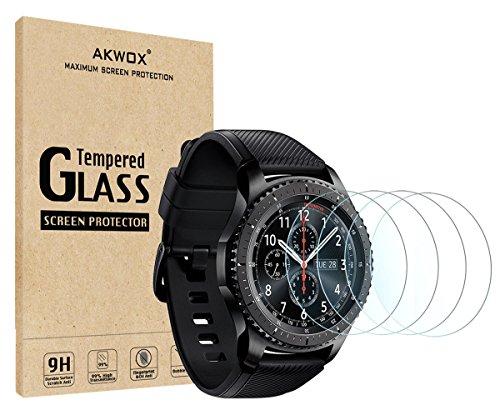 [4 Stück] Samsung Gear S3 Schutzfolie, Akwox 0.33mm 9H Härte Kratzfest Panzerglasfolie für Samsung Gear S3 Frontier/Classic Displayschutzfolie