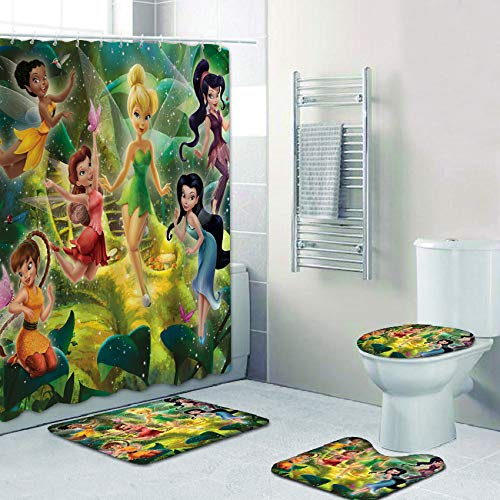FRECASA 4 Pcs Tinkerbell Shower Curtain Sets with Rugs, Toilet Lid Cover, Contour Pad and Bath Mat Cartoon Tinkerbell Shower Curtain Polyester Waterproof