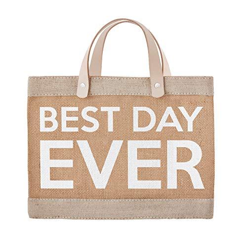 SB Design Studio Wedding Collection Waterproof Jute Tote Bag, Mini, Best Day Ever