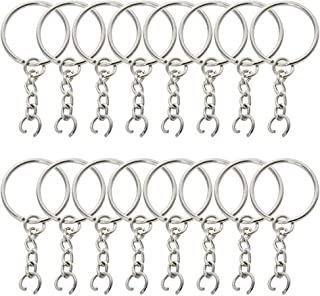Bhaiji Enterprises Silver 30 mm Open Jump Ring Connector Key Case (Set of 50) + 1 Keychain Free