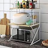 Baker's Rack Microwave Oven Rack, 3-Tier Kitchen Counter Storage Organizer, Multifunctional Organizer for Kitchenware, Seasoning Rack, Walnut