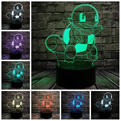 Pokemon Go Action Figure 3D Rgb Lamp Eevee Turtle Bird Fire Dragon Ball Bay Rol Gift Gift Nachtlampje Led