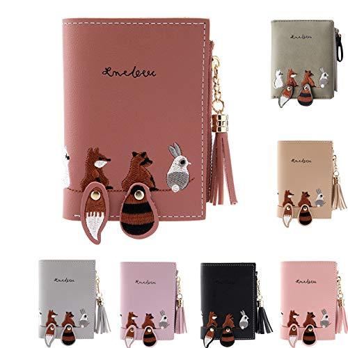 Cartoon Animals Purse, squarex Women Wallet Lovely Animals Small Coin Zipper Purse Card Package (Red)