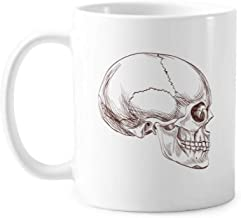 Human Skull Profile Drawing Classic Mug White Pottery Ceramic Cup With Handle 350ml Gift