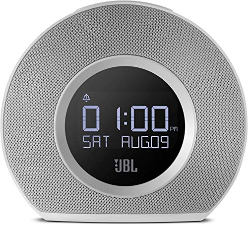 JBL Horizon Bluetooth Alarm Clock Radio with Multi Alarm, Gentle Waking Ambient LED Light, Auto LCD Display and Dual USB Charging (White, Horizon AM Radio) (Renewed)