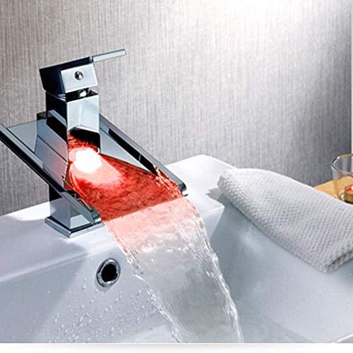 ZLININ Y-longhair Conservación de agua Generación de energía y cobre duradero grifo de lavabo LED Control de temperatura Color Mezclar grifo inoxidable