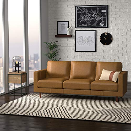 "Amazon Brand – Rivet Revolve Modern Leather Sofa Couch, 80""W, Caramel"