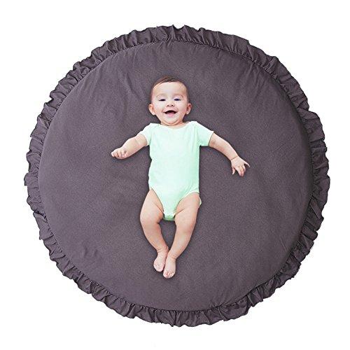 Pueri Kinder Baby Spielmatte Runde Teppich Kriechmatte Spielzelte Dekoration fürs Kinderzimmer (Dunkelgrau)