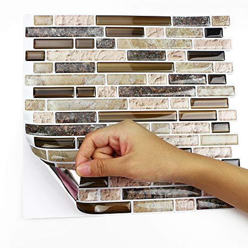 Peel and Stick Backsplash Tile for Kitchen Adhesive Stick on Backsplash Laundry Bathroom Textured Vinyl Sticker Wallpaper Smart Tile in Sandstone (10 Sheets 10