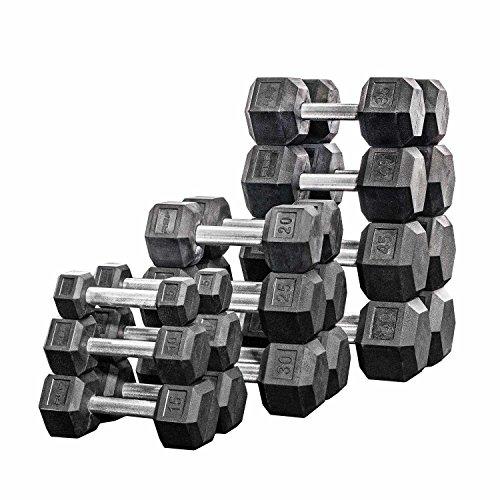 Rep Rubber Hex Dumbbell Set with Racks, 5-50 Set, 5-75 Set, 5-100 Set, 2.5-27.5 Set, 55-75, 80-100, or 105-125 Set....