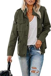 Womens Military Jacket Zip Up Snap Buttons Lightweight...