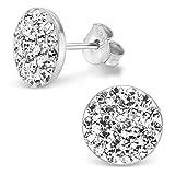 Silvinity Boucles d'oreilles rondes et plates avec cristaux blancs, boucles...