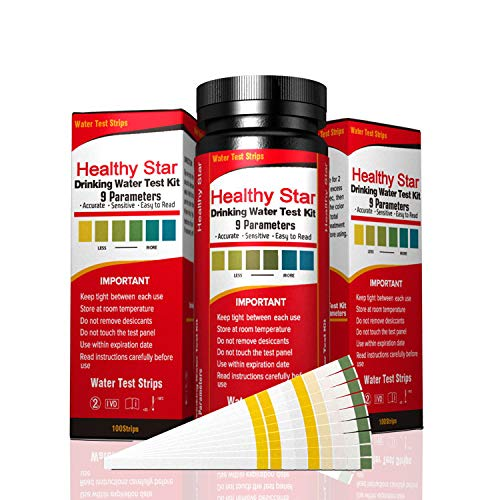 Drinking Water Test Strips Water Test Kit 9 in 1, 150ct ,for Drinking water, Aquarium ,Pool & Spa;best Kit for Accurate Water Quality Testing,Instant Results -PH - Free Chlorine - Total Hardness etc.