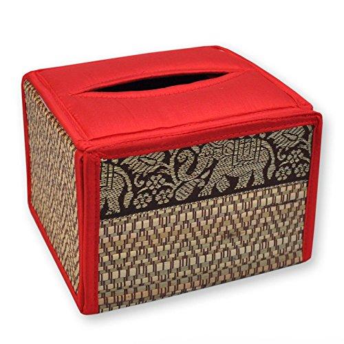 Housse pour boîte à mouchoirs carrée, rouge, serviettes papier, lingettes (19867)
