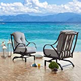 Festival Depot 2 of Outdoor Patio Dining Chairs with Blue Cushions Set Premium Fabric Metal Frame Furniture Set Garden Bistro Seating Chair Thick&Soft Cushions (2pc Dining Chairs) (Grey)