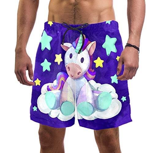 AITAI Pantalones cortos de playa para hombre, diseño de unicornio, color morado