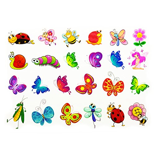 Oblique Unique® Schmetterling Tattoo Set 48 Stück Kindertattoos Tattoo Verschiedene Motive Kinder Spielen