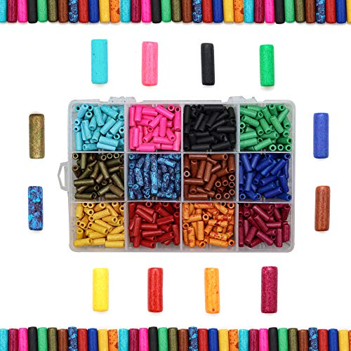 Over 600 Ceramic Tube Beads for Jewelry Making Adults, Handmade Colorful Premium Quality Craft Bead Kit, Unique Crafts Supplies