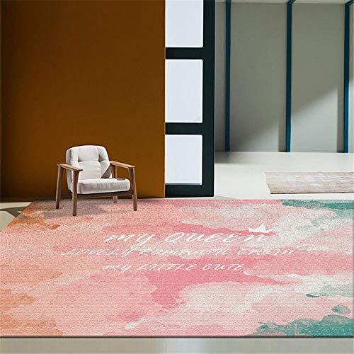 RUGMYW No Se Deforma Fácilmente alfombras Pelo Corto Salon Patrón Abstracto Rosa...