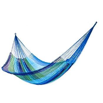 NOVICA Green Aqua Blue Striped Nylon Hand Woven Mayan Rope 2 Person XL Hammock Sea Breeze   Double