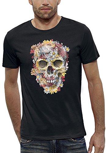 PIXEL EVOLUTION Camiseta CRÁNEO Flores Hombre - tamaño M - Negro