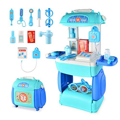 TR Turn Raise 3 in 1 Doktor Spielzeug Kinder Arztkoffer, 23 Stück Medizinisches Rollenspiel-Set, Tragetasche, Geburtstagsgeschenk für 3 Jahre alt Jungen Mädchen