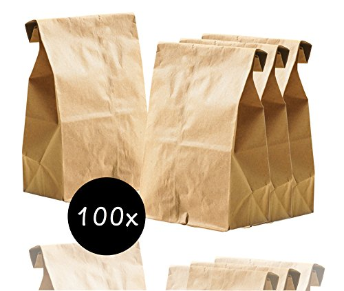 265 x 170 mm Kraftpapier mini/klein Tüten Beutel Papiertüten Verpackungstüten Kraftpapiertüten Brottüten Geschenktüten Geschenkbeutel (100x Tüten)