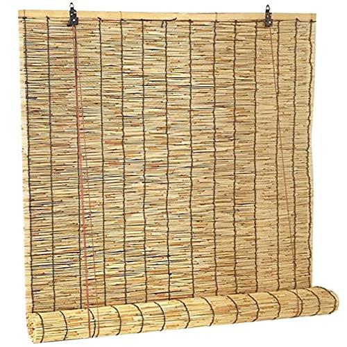 HEWYHAT Persianas De Caña Natural, Ventilación Aislamiento Térmico Enrollables Bambú Retro, Protección Solar para Estudios, Cortinas Restaurantes,100x240cm(31.5x94in)