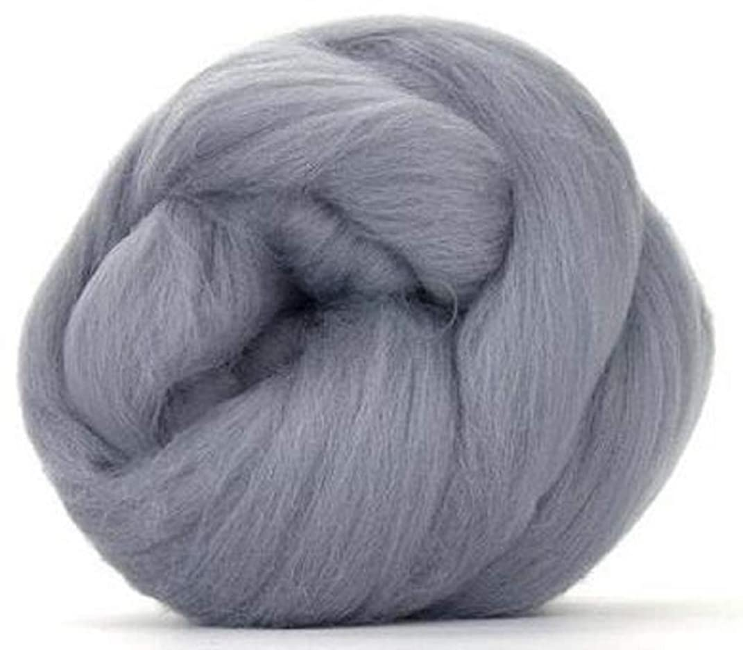 4 oz Paradise Fibers 64 Count Dyed Ash (Gray) Merino Top Spinning Fiber Luxuriously Soft Wool Top Roving for Spinning with Spindle or Wheel, Felting, Blending and Weaving