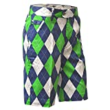 Royal & Awesome Men's Plus Size Patterned Golf Shorts, Blues on The Green, 42' Waist-106 cm
