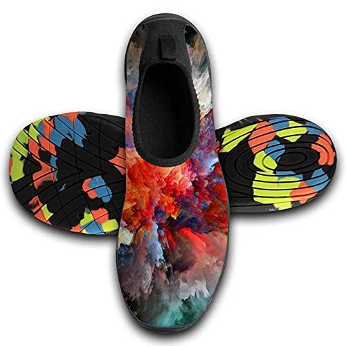 122 Zapatos de deportes acuáticos descalzos de secado rápido Aqua Yoga Calcetines Slip-on para hombres y mujeres, Unisex, KAWFW7AG9-PI76-7P4-8YB, Negro 4, 10-10.5 M US