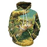 HOSD Hombres de Impreso suéter del los suéter Digital El con la Sudadera de Capucha los Digital de Pescados Impreso de suéter los del