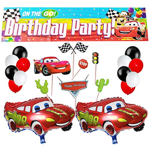 Race Car Happy Birthday Banner Car LightningMcQueenParty Balloons and Race Car Cupcake Cake Topper for Kids Birthday Racing Theme Party Decorations Favor
