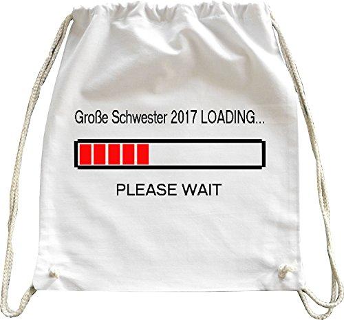 Mister Merchandise Turnbeutel natur Rucksack Große Schwester 2017 Loading Geschwister Geschwisterchen Beutel Tasche Weiß