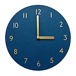 thehaki Decorative Wall Clock Silent & Non-Ticking Quartz Clock PU Leather Lightweight 0.6lb Round 11 (Navy)