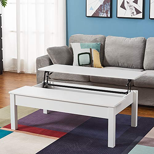 Coffee Tables with Lift Up Top and Hidden Storage Modern Rectangle Sofa Side End Table for Living Room Office Furniture W 115 * D 70 * H 40cm (White)