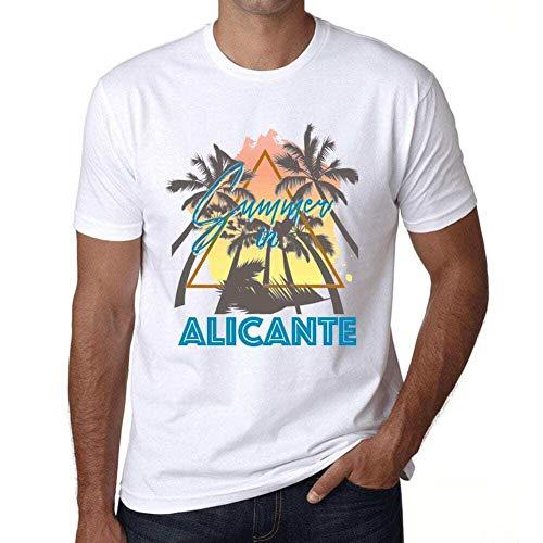 Hombre Camiseta Vintage T-Shirt Gráfico Summer Triangle Alicante Blanco