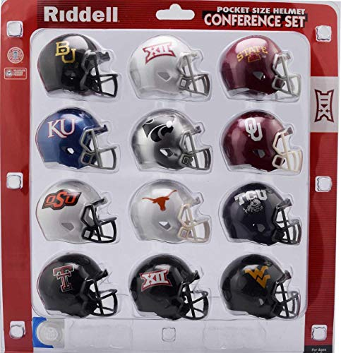 Riddell NCAA Big 12 Helmet Pocket ProBig 12 Conference Set Pocket Pro Speed Style 2018, Team Colors, One Size