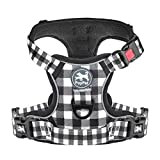 PoyPet No Pull Dog Harness, [Release at Neck] Reflective Adjustable No Choke Pet Vest with Front & Back 2 Leash Attachments, Soft Control Training Handle for Large Breed(Grid,L)